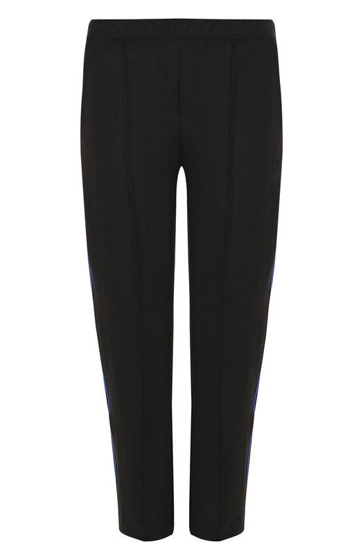 Купить Укороченные брюки прямого кроя с лампасами Etre Cecile, RIB-CRTP-SS18 P0LYESTER, Португалия, Черный, Полиэстер: 96%; Эластан: 4%;