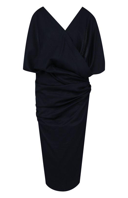 Купить Шерстяное платье с V-образным вырезом и открытой спиной Jacquemus, 181DR21, Болгария, Темно-синий, Шерсть: 100%;