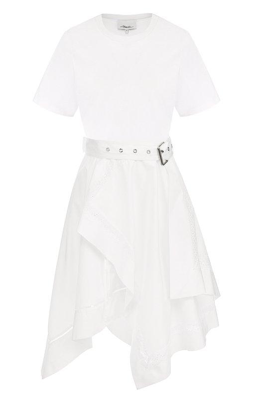 Купить Хлопковое платье асимметричного кроя с поясом 3.1 Phillip Lim, S181-9564C0T, Китай, Белый, Хлопок: 100%;