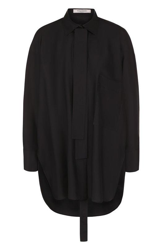 Купить Однотонная шелковая блуза с воротником аскот Valentino, PB0AB10U/37C, Италия, Черный, Шелк: 100%;