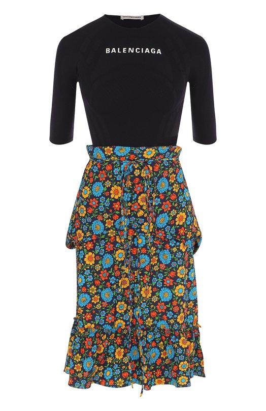 Купить Приталенное платье-миди с оборками и принтом Balenciaga, 517949/TAL26, Италия, Темно-синий, Полиэстер: 100%;