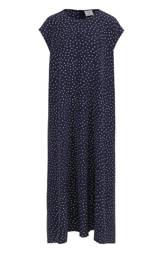 Купить Шелковое платье-миди свободного кроя в горох Vetements, WSS18DR2, Португалия, Синий, Шелк: 100%;