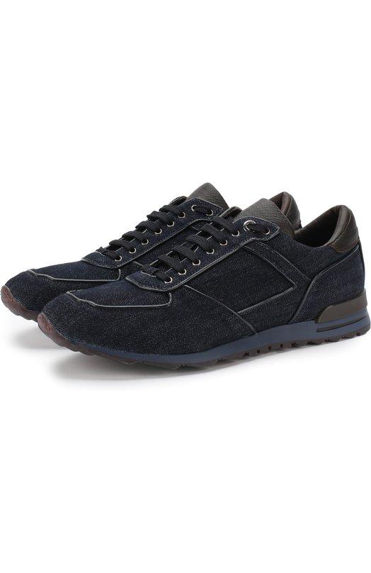 Купить Текстильные кроссовки на шнуровке Canali, 791210/RC00246, Италия, Темно-синий, Стелька-кожа: 100%; Подошва-резина: 100%; Отделка кожа натуральная: 100%; Текстиль: 100%;