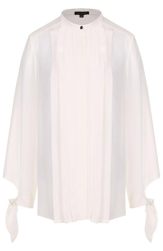 Купить Шелковая блуза с воротником-стойкой и плиссированной отделкой Escada, 5026947, Китай, Белый, Шелк: 100%;