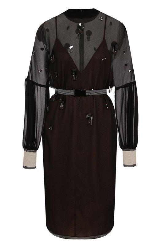 Купить Приталенное мини-платье с декорированной отделкой и воротником-стойкой By Malene Birger, Q60407048/REANNAS, Китай, Черный, Полиэстер: 100%;