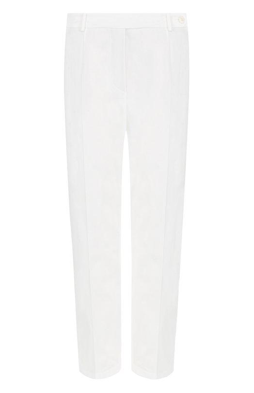 Купить Укороченные хлопковые брюки со стрелками Loro Piana, FAI1450, Италия, Белый, Хлопок: 97%; Эластан: 3%;