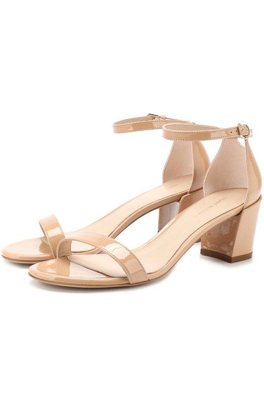 Купить Кожаные босоножки Simple на устойчивом каблуке Stuart Weitzman, XL20531, Испания, Бежевый, Подошва-кожа: 100%; Подкладка-кожа: 100%; Кожа: 100%;