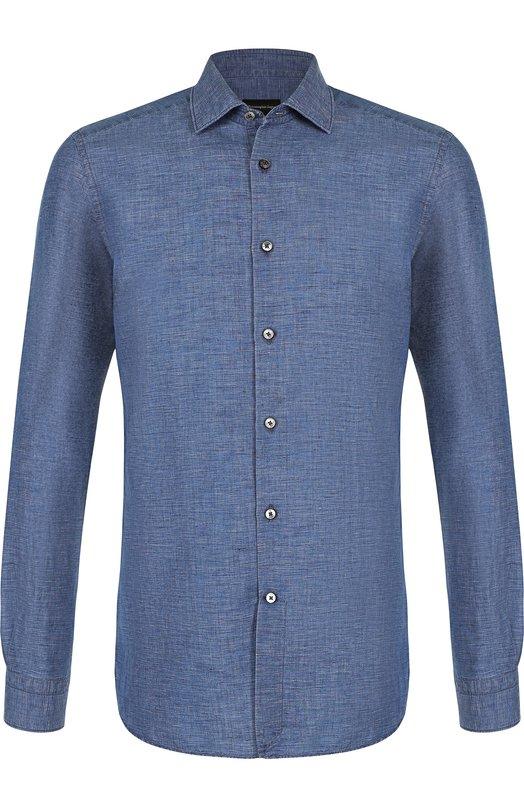 Купить Рубашка из смеси льна и хлопка Ermenegildo Zegna, 301286/9HS0MT, Румыния, Синий, Лен: 51%; Хлопок: 49%;