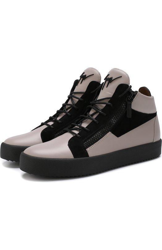 Купить Высокие кожаные кеды на шнуровке Giuseppe Zanotti Design, RU70011/007, Италия, Серый, Кожа натуральная: 100%; Стелька-кожа: 100%; Подошва-резина: 100%; Отделка замша натуральная: 100%;