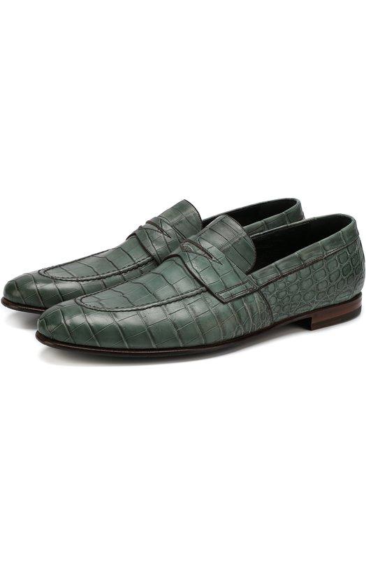 Купить Пенни-лоферы из кожи крокодила Barrett, 181U052.4/C0CC0DRILL0, Италия, Зеленый, Стелька-кожа: 100%; Подошва-кожа: 100%; Подошва-резина: 100%; Кожа/крокодил/Crocodylus Novaeguineae: 100%;