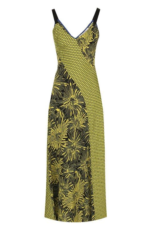 Купить Приталенное шелковое платье-миди с принтом Diane Von Furstenberg, 11463DVF, Китай, Желтый, Шелк: 100%;