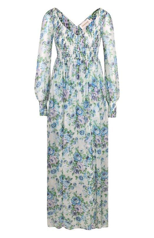 Приталенное платье-макси с принтом Zimmermann Zimmermann
