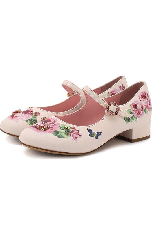 Кожаные туфли на ремешке с декоративными кристаллами Dolce & Gabbana, D10537/AM245/29-36, Италия, Розовый, Кожа натуральная: 100%; Стелька-кожа: 100%; Подошва-кожа: 100%; Подошва-резина: 100%;  - купить