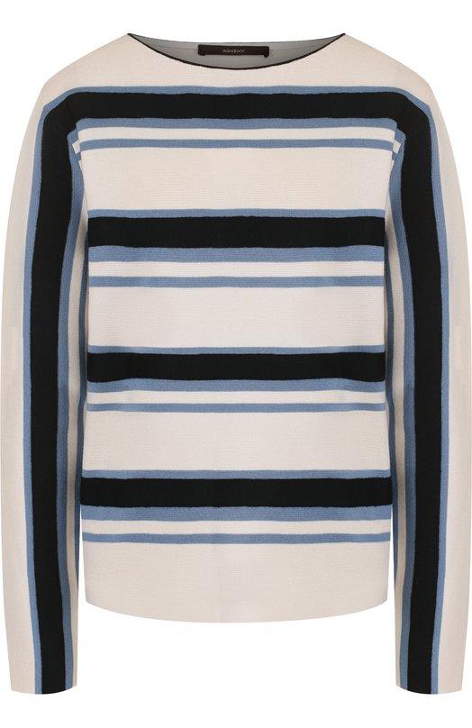 Купить Шерстяной пуловер с круглым вырезом в полоску Windsor, 52 DP706 10001583, Китай, Разноцветный, Шерсть: 100%;