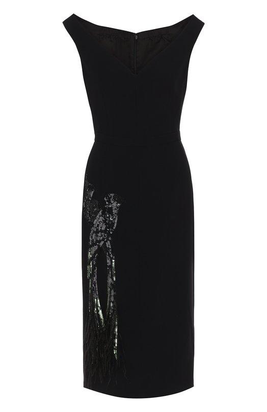 Купить Приталенное платье-миди с декорированной отделкой No. 21, 18E N2M0/H011/5336, Италия, Черный, Вискоза: 50%; Ацетат: 50%; Подкладка-купра: 100%;