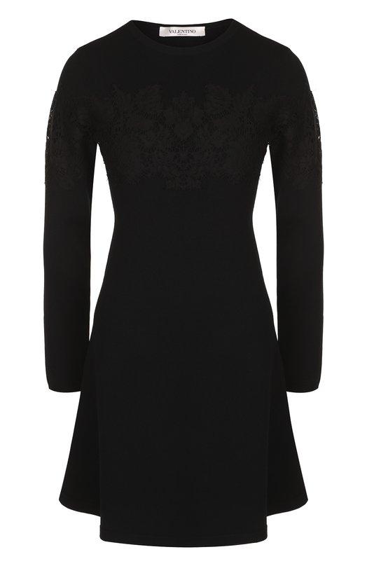 Приталенное мини-платье с кружевной отделкой Valentino Valentino