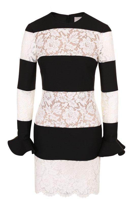 Купить Приталенное мини-платье с кружевной отделкой Valentino, QB2VAIR6360, Италия, Черно-белый, Шерсть: 65%; Шелк: 35%;