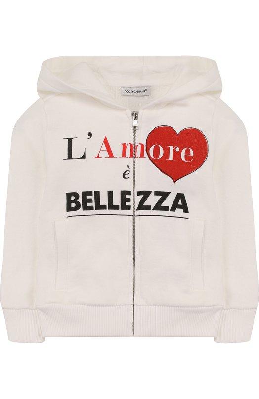 Купить Хлопковый кардиган на молнии с капюшоном и надписью Dolce & Gabbana, L5JWP6/G70FY/2-6, Италия, Белый, Хлопок: 100%;