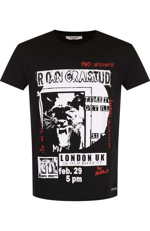 Купить Хлопковая футболка с принтом Valentino, QV3MG12K46M, Италия, Черный, Хлопок: 100%;