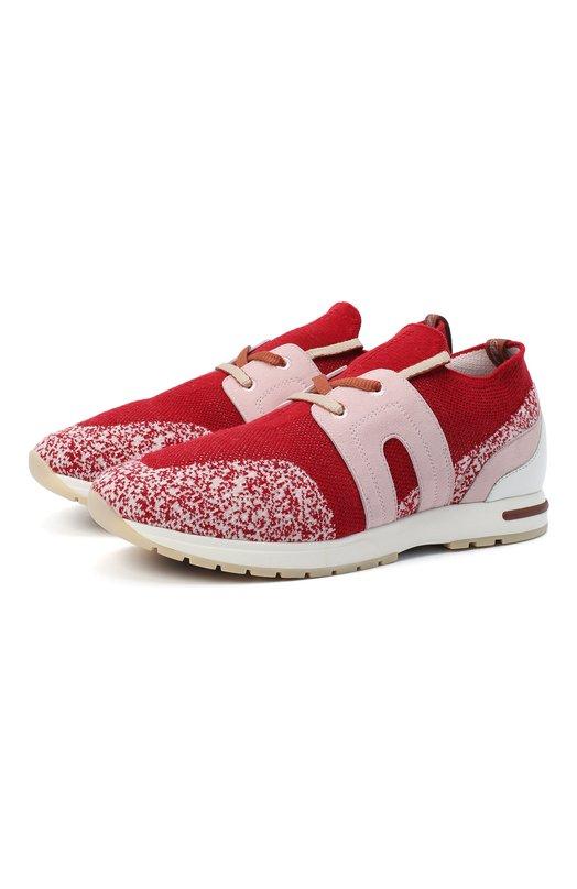 Купить Комбинированные кроссовки 360 LP Walk Loro Piana, FAI1590, Италия, Красный, Кожа: 79%; Текстиль: 21%; Отделка замша натуральная: 100%; Подкладка-кожа: 100%; Стелька-кожа: 100%; Подошва-резина: 100%;