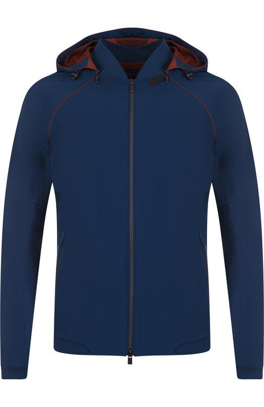 Купить Куртка на молнии с капюшоном Loro Piana, FAI0669, Италия, Темно-синий, Полиамид: 82%; Эластан: 18%;