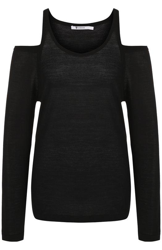 Купить Шерстяной пуловер с открытыми плечами T by Alexander Wang, 4K181007J0, Китай, Черный, Шерсть: 70%; Лиоцелл: 30%;