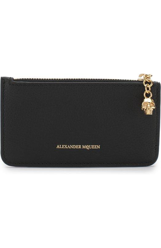 Купить Кожаный футляр для кредитных карт с отделением на молнии Alexander McQueen, 501022/BPT0G, Италия, Черный, Кожа натуральная: 100%;