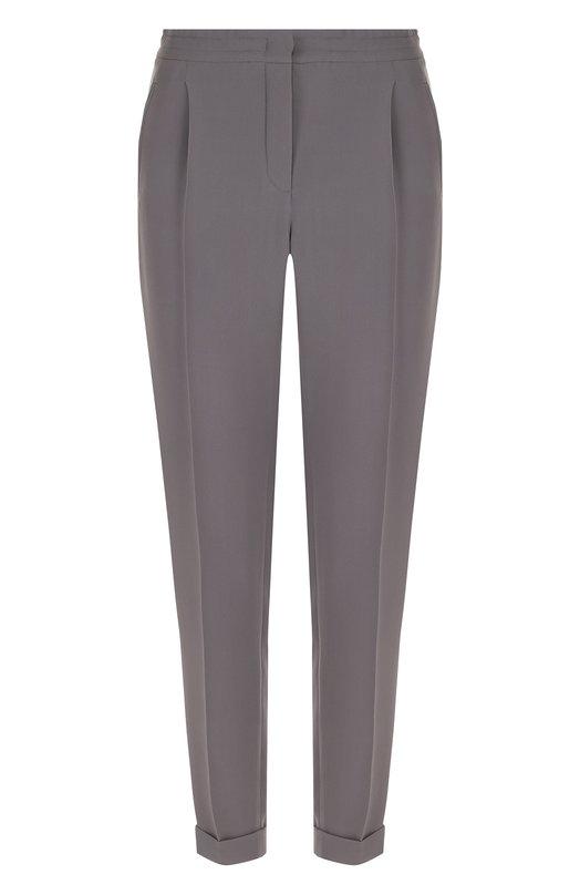 Купить Шелковые брюки прямого кроя с защипами и эластичным поясом Loro Piana, FAG1404, Италия, Серый, Шелк: 100%;