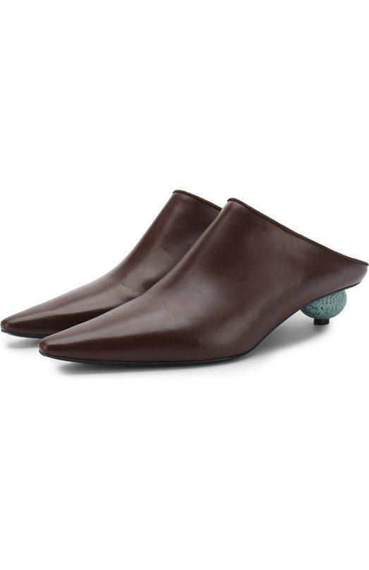 Кожаные мюли на фигурном каблуке Loewe