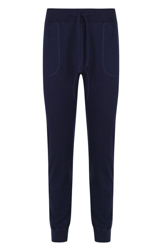 Купить Хлопковые джоггеры с поясом на резинке Kiton, UK714/L, Италия, Темно-синий, Хлопок: 100%;