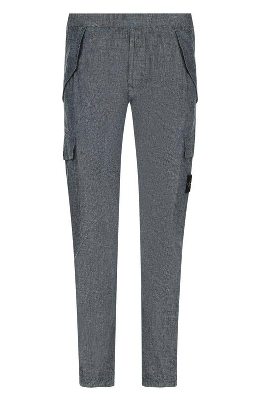 Купить Хлопковые брюки-карго с поясом на резинке Stone Island, 681531507, Тунис, Серый, Хлопок: 100%;
