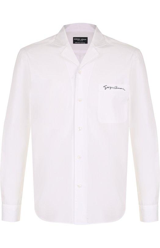Хлопковая рубашка с отложным воротником Giorgio Armani