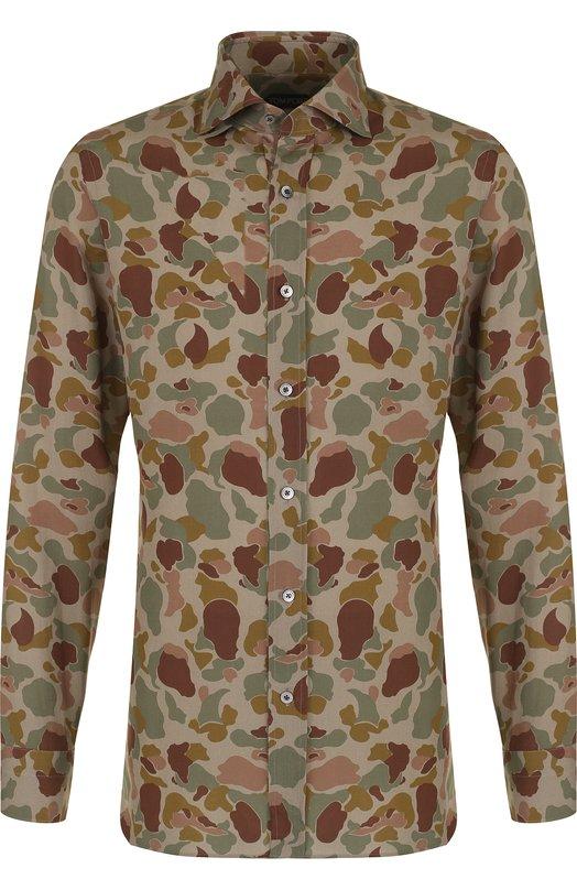Купить Льняная рубашка с камуфляжным принтом Tom Ford, 3FT925/94DAGF, Италия, Зеленый, Лен: 100%;