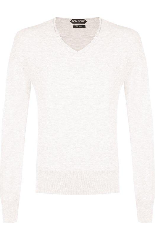 Купить Однотонный хлопковый пуловер Tom Ford, BPC91/TFK400, Италия, Белый, Хлопок: 100%;