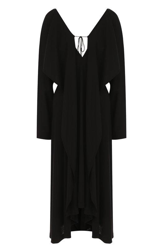 Купить Шерстяное платье-миди на молнии Yohji Yamamoto, FW-D18-101, Япония, Черный, Шерсть: 100%;
