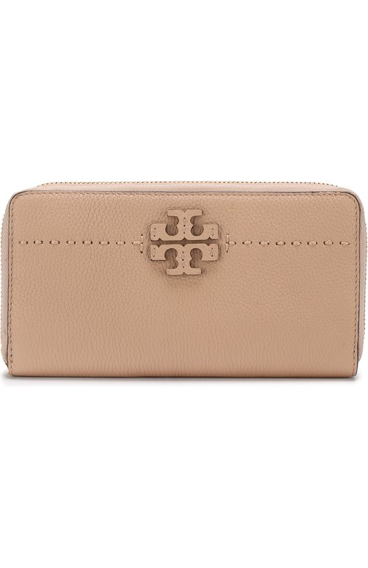 Купить Кожаный кошелек на молнии Tory Burch, 41847, Индия, Бежевый, Кожа натуральная: 100%; Кожа: 100%;