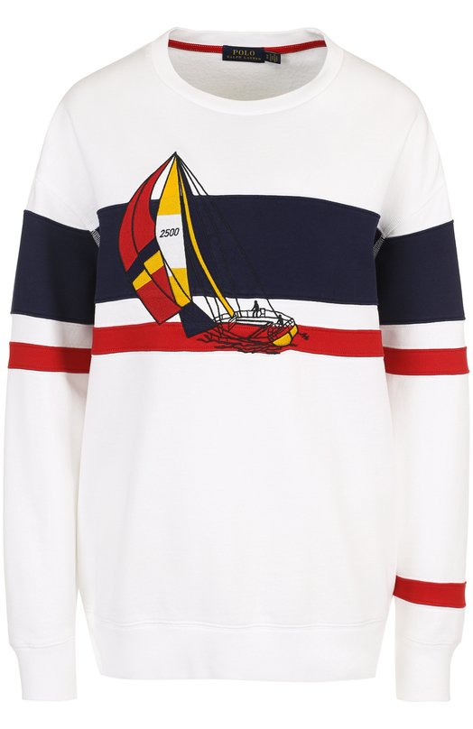 Купить Хлопковый пуловер с круглым вырезом и принтом Polo Ralph Lauren, 211697345, Перу, Белый, Хлопок: 90%; Полиэстер: 10%;