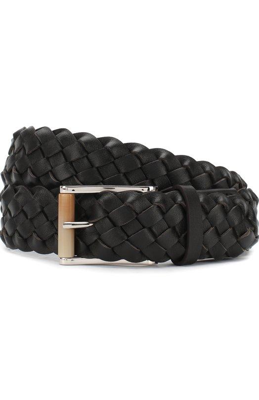 Купить Плетеный кожаный ремень с металлической пряжкой Kiton, USC22CCN00956, Италия, Темно-коричневый, Кожа: 100%;