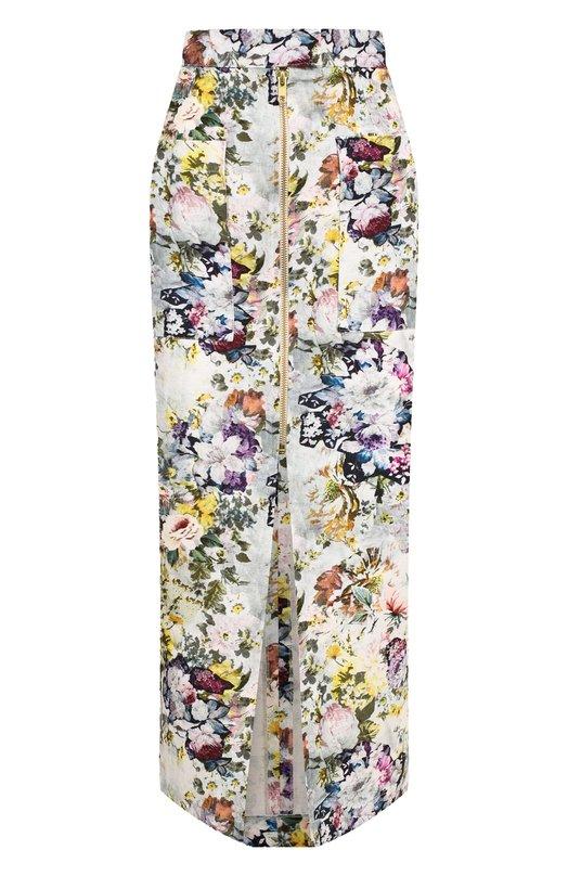 Купить Хлопковая юбка на молнии с принтом Tata Naka, TN21015/PRINT LINEN, Великобритания, Разноцветный, Хлопок: 100%;