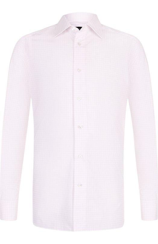Купить Хлопковая сорочка с воротником кент Ermenegildo Zegna, 301264/9MS0PA, Швейцария, Светло-розовый, Хлопок: 100%;