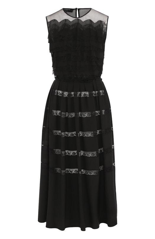 Купить Приталенное шелковое платье-миди с кружевной отделкой Rochas, R0PM500960/RM280100R, Италия, Черный, Шелк: 100%;