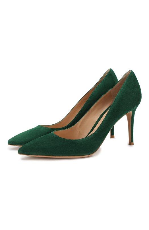 Купить Замшевые туфли Gianvito 85 на шпильке Gianvito Rossi, G24580.85RIC.CAMLEAF, Италия, Зеленый, кожа: 100%; Кожа: 100%; Низ-кожа: 100%; Подкладка-кожа: 100%; Подошва-кожа: 100%;