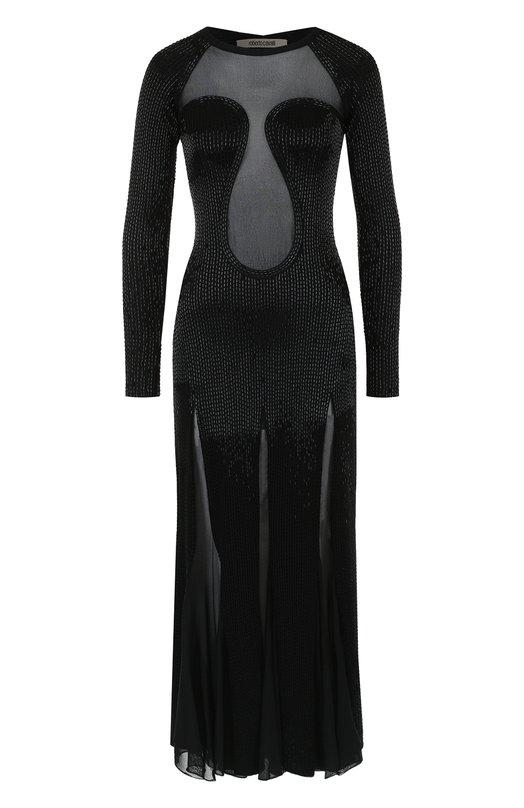 Платье-миди с прозрачными вставками и декорированной отделкой Roberto Cavalli, GWM240/MR001, Италия, Черный, Вискоза: 76%; Полиэстер: 24%;  - купить