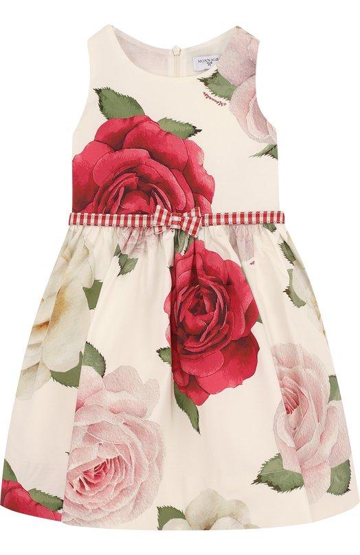 Купить Хлопковое платье с принтом и бантом на поясе Monnalisa, 111908, Италия, Разноцветный, Хлопок: 95%; Эластан: 5%; Подкладка-хлопок: 100%;