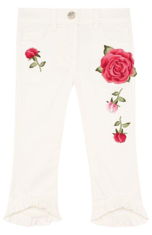 Укороченные брюки с аппликациями и оборками Monnalisa