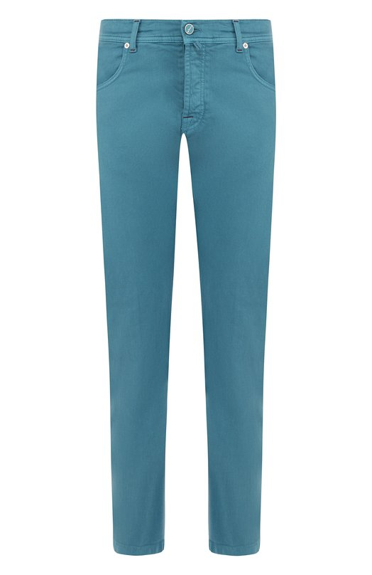 Купить Хлопковые брюки прямого кроя Kiton, UPNJSJ06P6906000, Италия, Бирюзовый, Хлопок: 98%; Эластан: 2%;