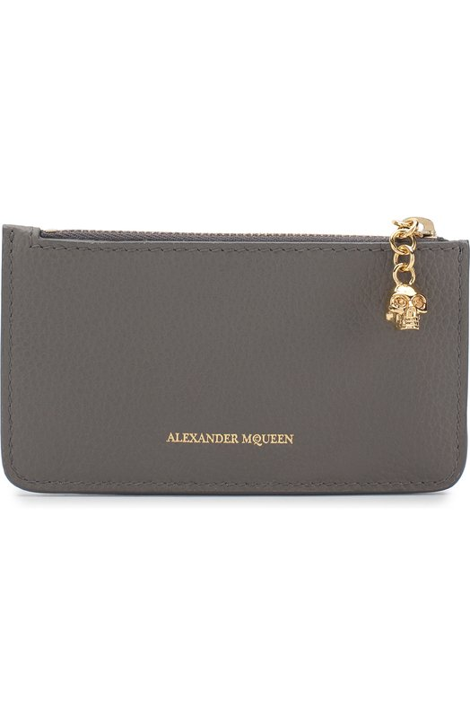 Купить Кожаный футляр для кредитных карт с отделением на молнии Alexander McQueen, 501022/BPT0G, Италия, Серый, Кожа натуральная: 100%;
