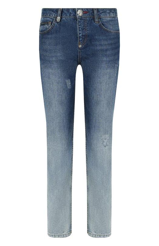 Купить Укороченные джинсы с потертостями Philipp Plein, P18C WDT0598 PDE001N, Турция, Синий, Хлопок: 100%;
