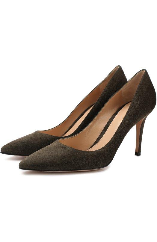 Купить Замшевые туфли Gianvito 85 на шпильке Gianvito Rossi, G24580.85RIC.CAMDK0L, Италия, Оливковый, кожа: 100%; Подошва-кожа: 100%; Подкладка-кожа: 100%; Кожа: 100%;