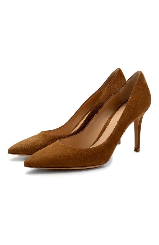 Купить Замшевые туфли Gianvito 85 на шпильке Gianvito Rossi, G24580.85RIC.CAMTEXA, Италия, Светло-коричневый, кожа: 100%; Подошва-кожа: 100%; Подкладка-кожа: 100%; Кожа: 100%;